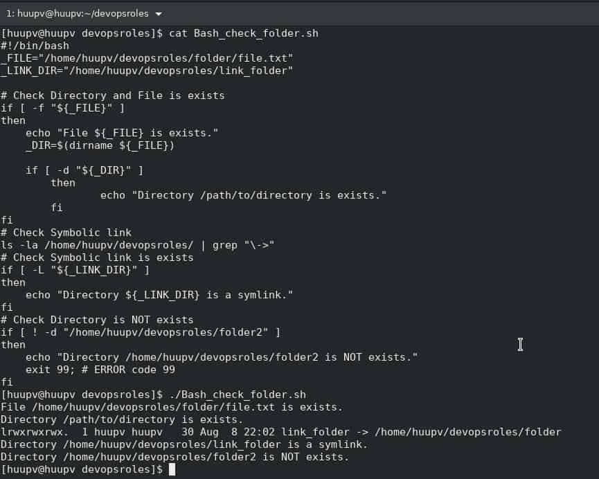 Bash script check if directory exists