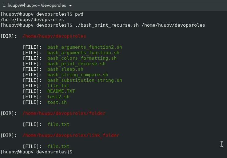 Bash script recursive file list