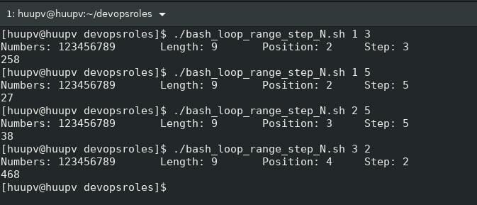 Bash for loop range
