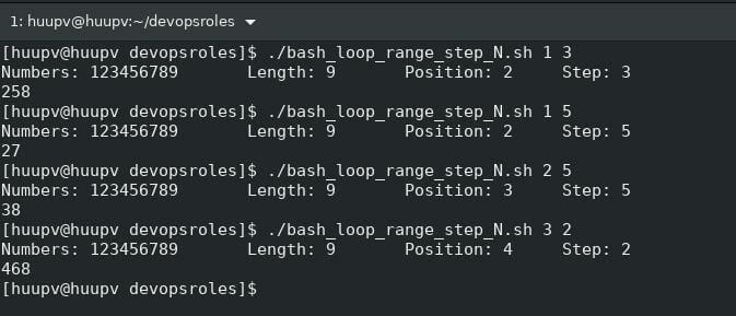 Bash for loop range