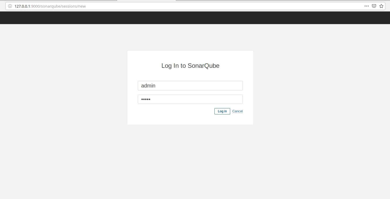 Access to SonarQube login page