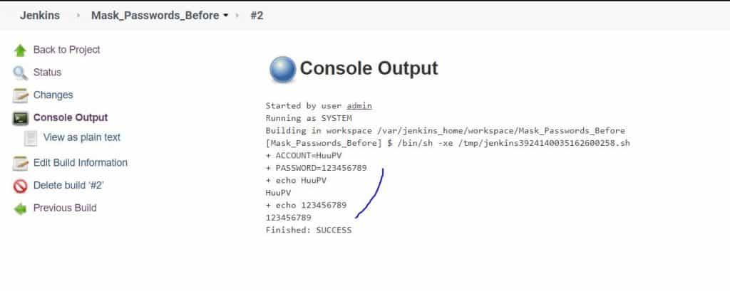 Jenkins Mask Passwords plugin